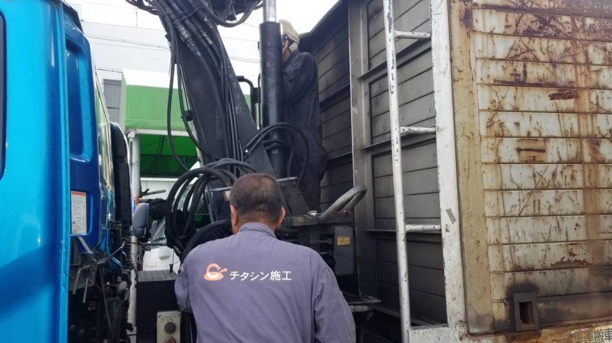 ヒアブクレーン油圧ホース交換作業【トラック入庫修理】
